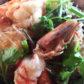 Gedämpfte Crevetten mit Glasnudeln, Ingwer, Pilze, Koriander